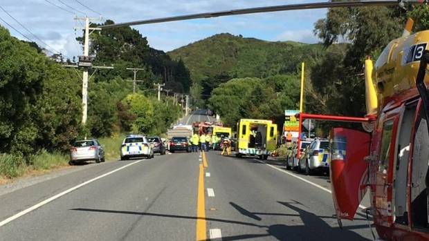 Life Flight's Westpac Rescue Helicopter at the scene of the crash. They transported one patient via helicopter to ...