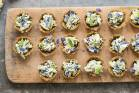 Asparagus tarts with oat & walnut crusts