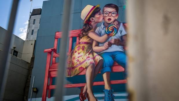 Natalia Rak's mural Love is in the Air.