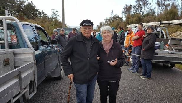 Dame Fiona Kidman and her husband Ian at the Pike River protest.