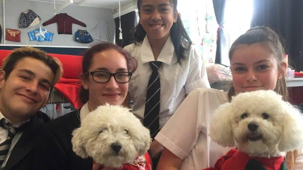 From left: Hutt Valley High students Logan Matete, 17, Chandra Greogry, 15, Bea Basultin, 15 and Taryn Sangster, 15 are ...