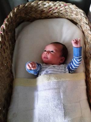 Mum Casey Beech is using a wahakura for her 5 week old son, Hepetema Beech-Love.