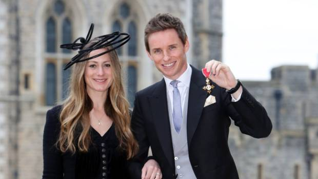 Eddie Redmayne poses with his wife Hannah.