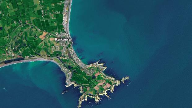 A satellite image of Kaikoura's landscape before the earthquake.
