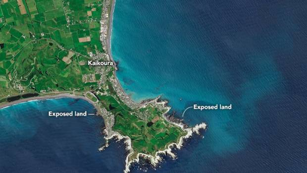 A satellite image of the new Kaikoura landscape, wrought by last month's earthquake.