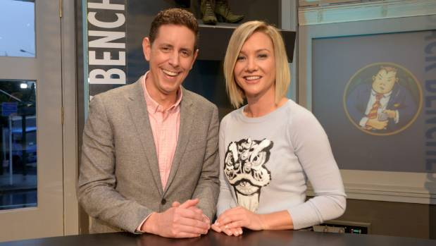 Hayley Holt with Back Benches co-host Wallace Chapman.