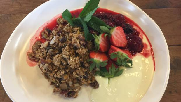 The feijoa bircher with a fresh berry compote is worth returning for.