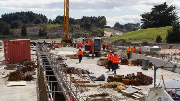Work last year on the Waikanae River bridge section of the Kapiti Expressway.