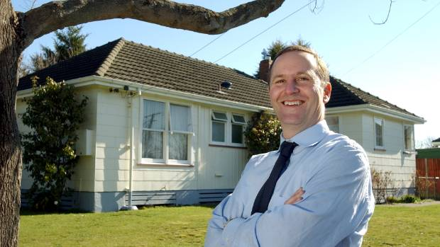 John Key in 2004, outside the state house in Christchurch where he grew up.
