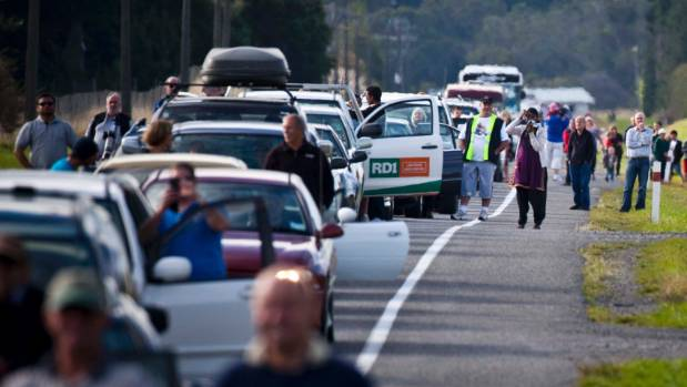 Traffic backed up for kilometres as people tried to get to Ohakea for the air force 75th birthday displays in 2012.