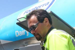Fonterra trucks arrive in Kaikoura for the first milk collection since the November 14 earthquake. Pictured are farmer ...