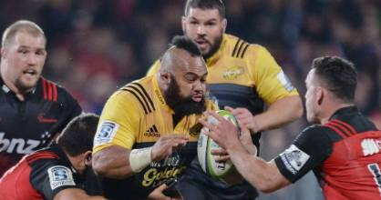 Hurricanes prop Loni Uhila on the charge against the Crusaders in last season's Super Rugby competition.