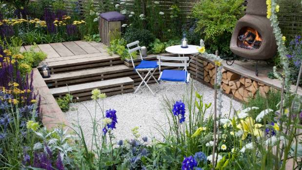 modern rustic garden design includes timeworn timber elements as in this garden when reclaimed scaffold - Garden Design Trends 2017