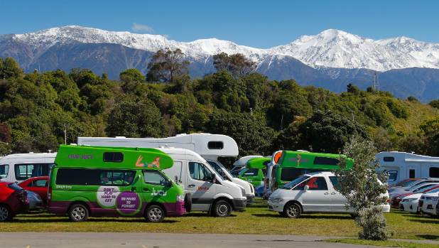 Abandoned rental vehicles parked at a Kaikoura primary school, some of the 340 stranded in the town after earthquakes ...