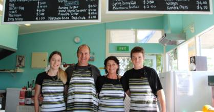 The Winchcombe family, from left, Mikyla, Trent, Jacqui and Jake at Taupiri Takeaways.