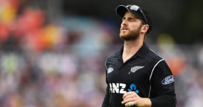 Blacks Caps captain Kane Williamson shows his frustration as the Australian total builds.