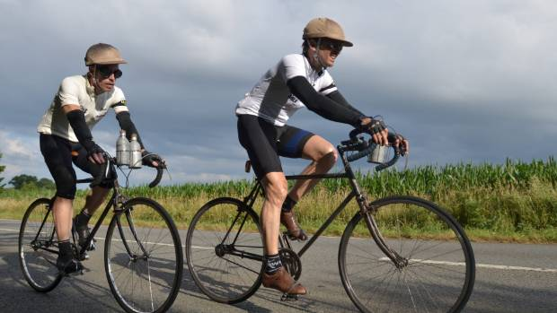 For Le Ride, Phil Keoghan and Ben Cornell rode the 1928 Tour de France course on bikes from the era.