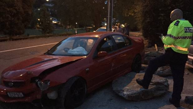 skid car driver crashes car into electricity pole in nelson before fleeing