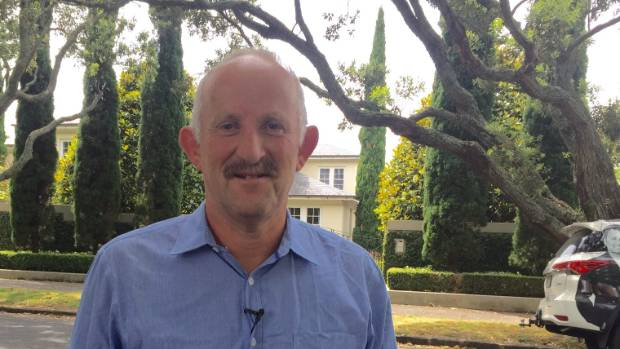 Gareth Morgan announced his new party's policy outside John Key's mansion in Parnell, Auckland.