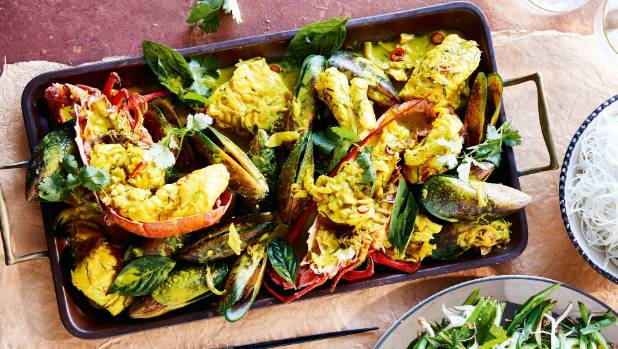 Crayfish, mussels and snapper abound in this colourful seafood dish.