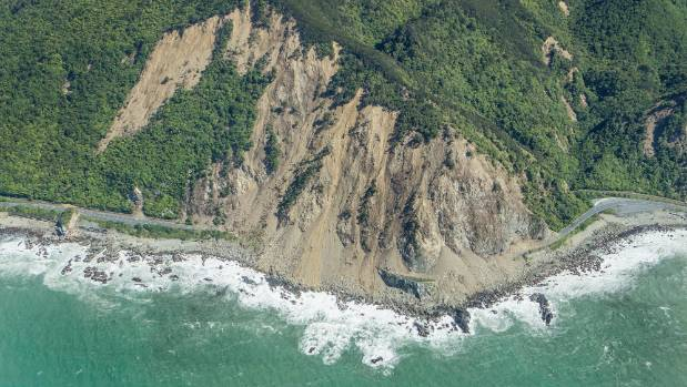 Slips cut off State Highway 1 north of Kaikoura.