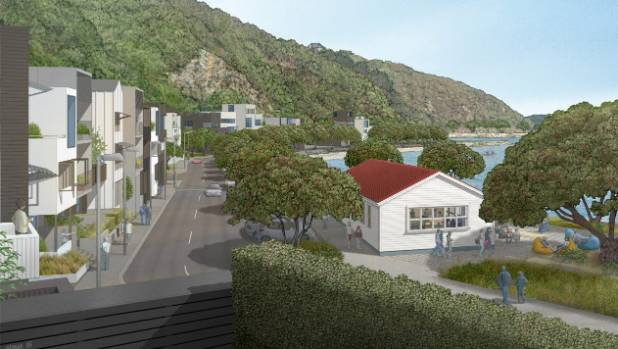 An artist's impression of a proposed redevelopment of Wellington's Shelly Bay. It would include more than 350 homes, a ...