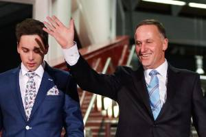 Newly elected third-term Prime Minister John Key and his family arrive for his victory speech on the 2014 election night.