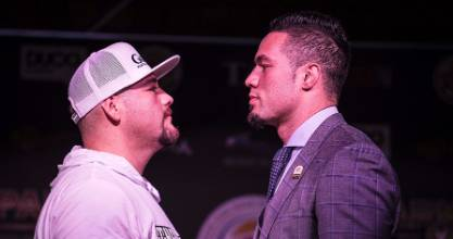 Joseph Parker faces off against his opponent Andy Ruiz of Mexico.