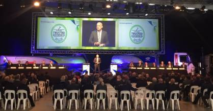 Chief executive Theo Spiering speaks to 200 shareholders at the Fonterra annual meeting.