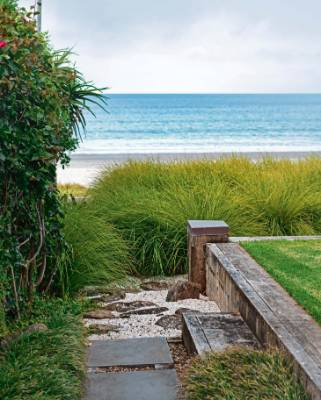 The green mass of Australian grass Lomandra 'Tanika' frames the beach view.