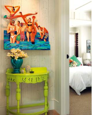Painter and designer Andrea Ventling lived in the house while she finished the tounge-and-groove interior walls with ...