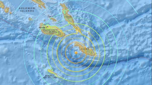 The quake was centred 63km west-south-west of Kirakira, Solomon Islands.