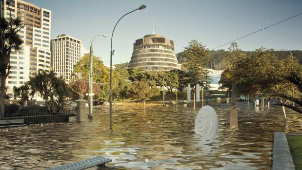 The underwater image shows Wellington at 2 degrees warmer than pre-industrial levels.