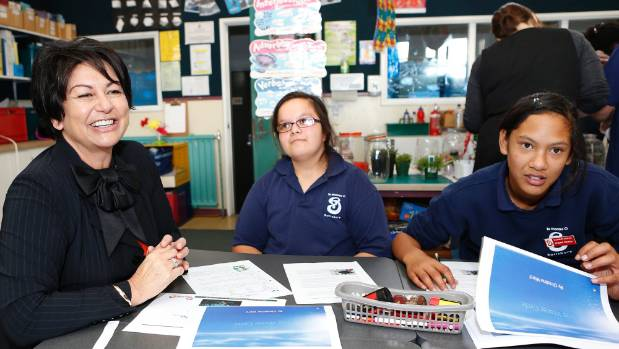 Education Minister Hekia Parata, with students Hannah Walmsley and Tia Wakefield, during her visit to Salisbury School ...