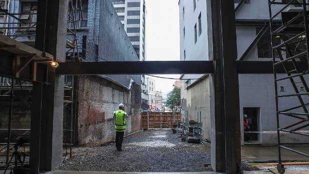 From the top of the laneway looking down onto Willis St. The laneway is expected to open within the next month.