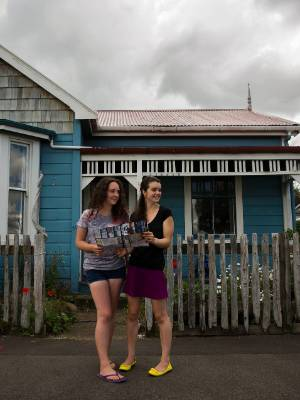 Rhiana Bragg-Meyers, 14, and Jamie Wheeler, 14, were involved in a community-minded birthday scavenger hunt in Feilding.
