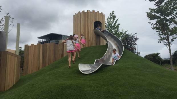 Kids enjoy the urban playground.