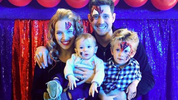 Michael Buble and his family celebrating Noah's third birthday.