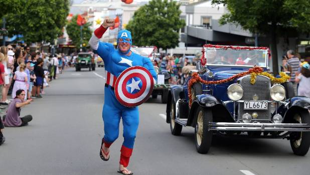 Captain America, aka Nevis Foster, put in a super showing at Saturday's Christmas parade.