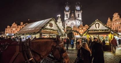 Prague's Old Town Square at the 2016 Christmas market. In the Czech Republic Christmas markets, traditionally sell ...