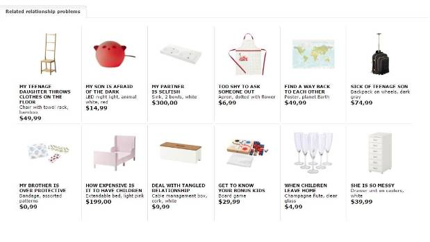 Under each product IKEA displays a list of other related relationship problems they think you might be struggling with.