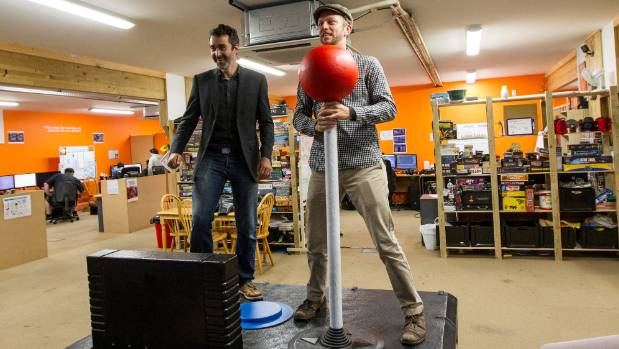 F3 Design director Pippin Wright-Stow, left, and Christchurch Gap Filler co-founder Ryan Reynolds play on their new ...