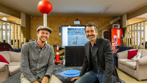 Christchurch Gap Filler co-founder Ryan Reynolds, left, and F3 Design director Pippin Wright-Stow with the giant game ...