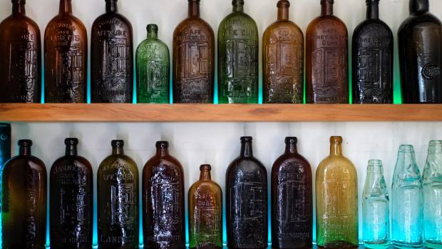 "Vaughan Morresey's bottles include ""quack cures"" for ailments like diabetes."