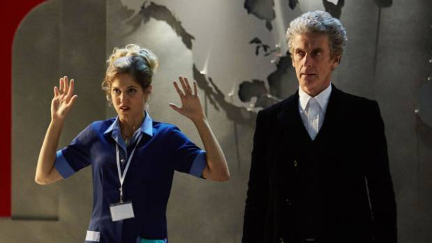 Charity Wakefield and Peter Capaldi in the Christmas special, The Return Of Doctor Mysterio.