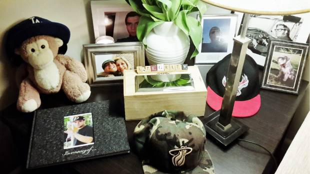 Nick's parents keep a shrine dedicated to their son in their lounge.