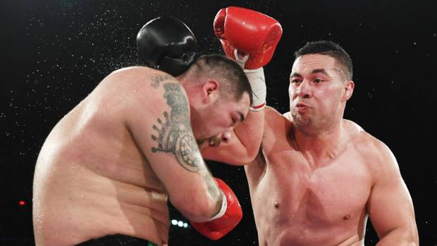 Joseph Parker on the attack against Andy Ruiz and on his way to winning the WBO heavyweight title.