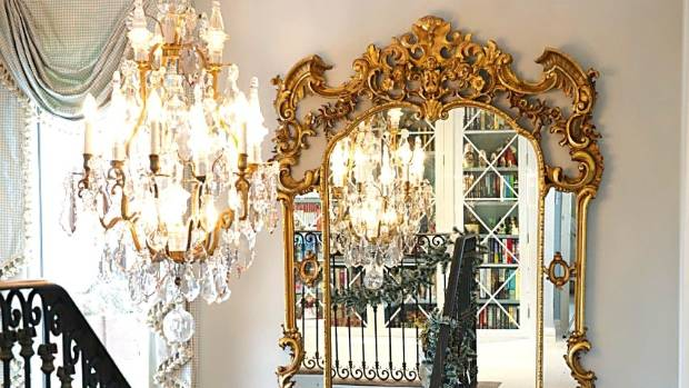 The chandelier is a French antique that was shipped to New Zealand hanging on a hook in a big wooden crate.