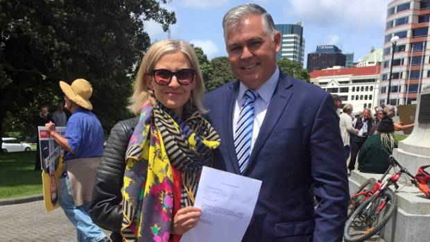Rodney MP Mark Mitchell received the petition from Samantha Lenik on behalf of Parliament. Lenik, who suffers from Pompe ...