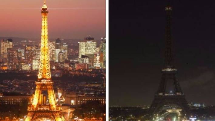 eiffel tower turns off famous lights in solidarity with people of